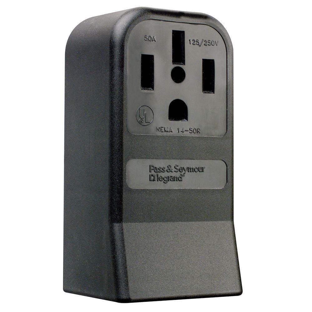 50 Amp 125/250-Volt NEMA 14-50R Surface Mount Power Outlet - Black