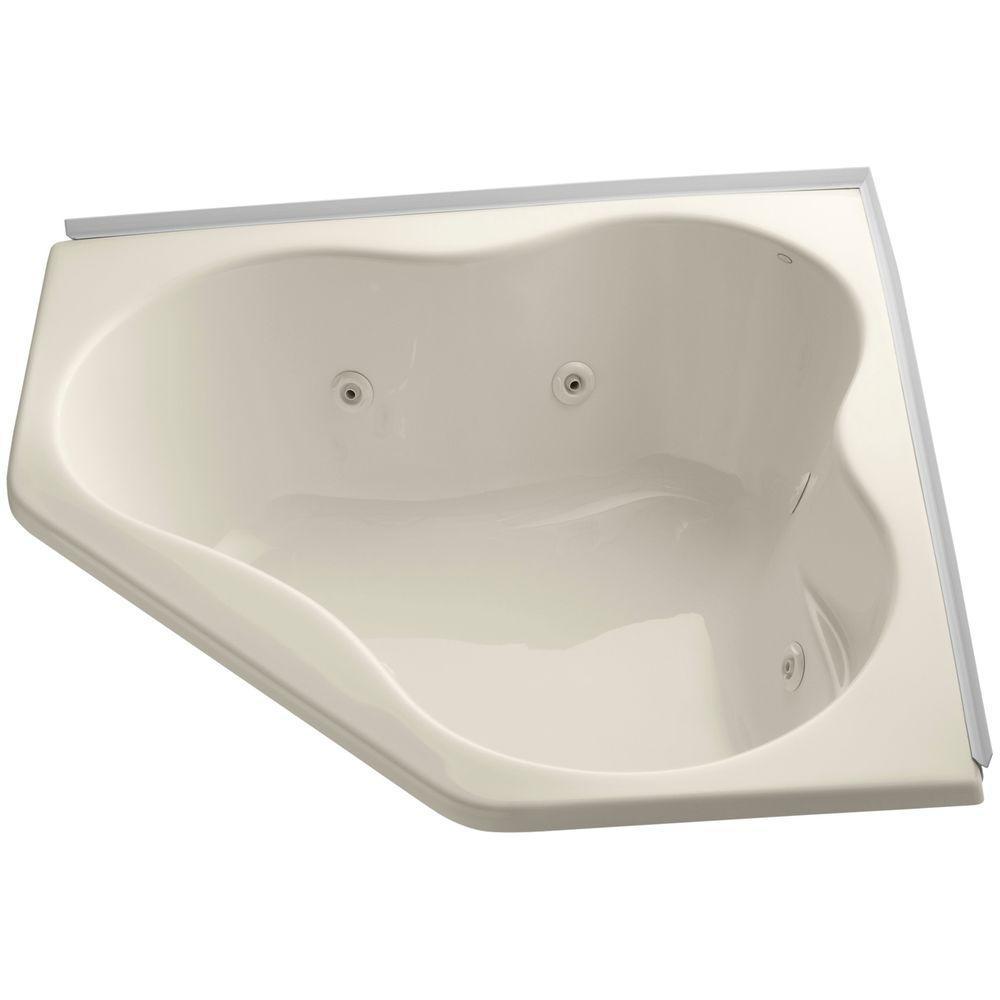 ProFlex 4.5 ft. Acrylic Oval Drop-in Whirlpool Bathtub in Almond
