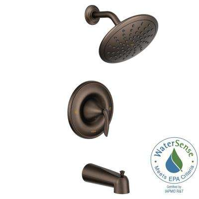 Eva Posi-Temp Rain Shower 1-Handle Tub and Shower Faucet Trim Kit in Oil Rubbed Bronze (Valve Not Included)