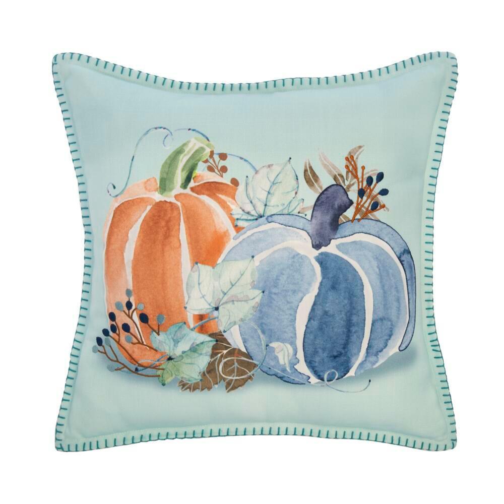 18 in. Watercolor Pumpkins Square Decorative Harvest Pillow