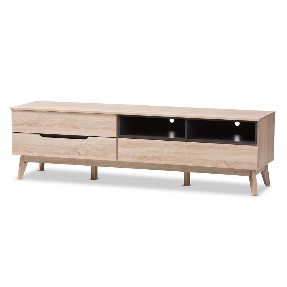 Baxton Studio Fella Light Brown Wood Tv Stand 28862 7706 Hd The Home Depot