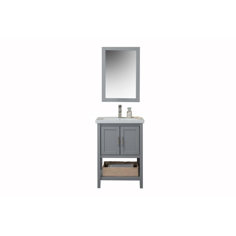 24 in. W x 18.3 in. D x 33.7 in. H Bath Vanity in Gray with Porcelain Vanity Top in White with White Basin and Mirror