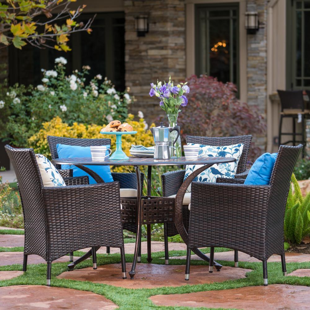 Noble House Elk Copper 5-Piece Aluminum Outdoor Dining Set ...