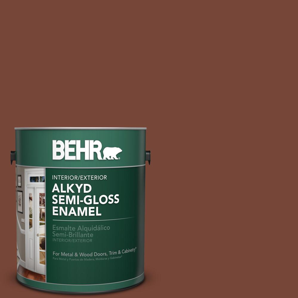 1 gal. #S200-7 Earth Fired Red Semi-Gloss Enamel Alkyd Interior/Exterior Paint