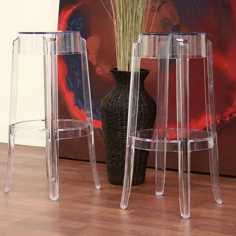 Baxton Studio Bettino Clear Plastic 2-Piece Bar Stool Set