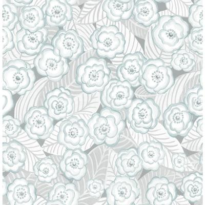 8 in. x 10 in. Oopsie Daisy Grey Peel and Stick Wallpaper Sample