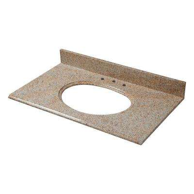 25 in. W Granite Vanity Top in Beige with Biscuit Bowl and 8 in. Faucet Spread
