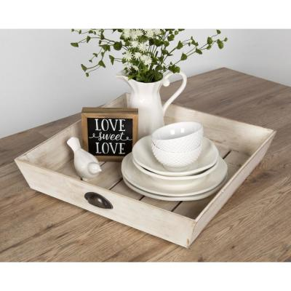 Woodmont White Decorative Tray
