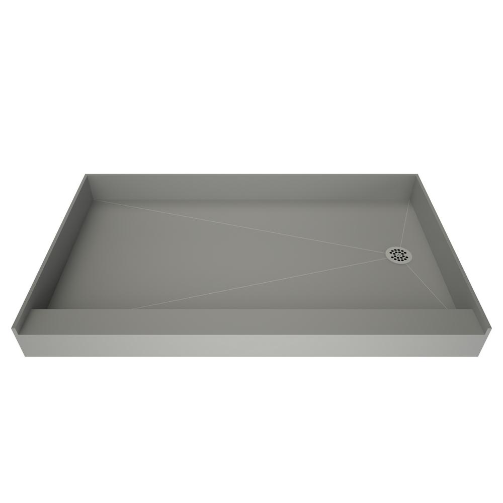 f6b14c2afc5 Tile Redi 42 in. x 60 in. Single Threshold Shower Base in Grey with ...