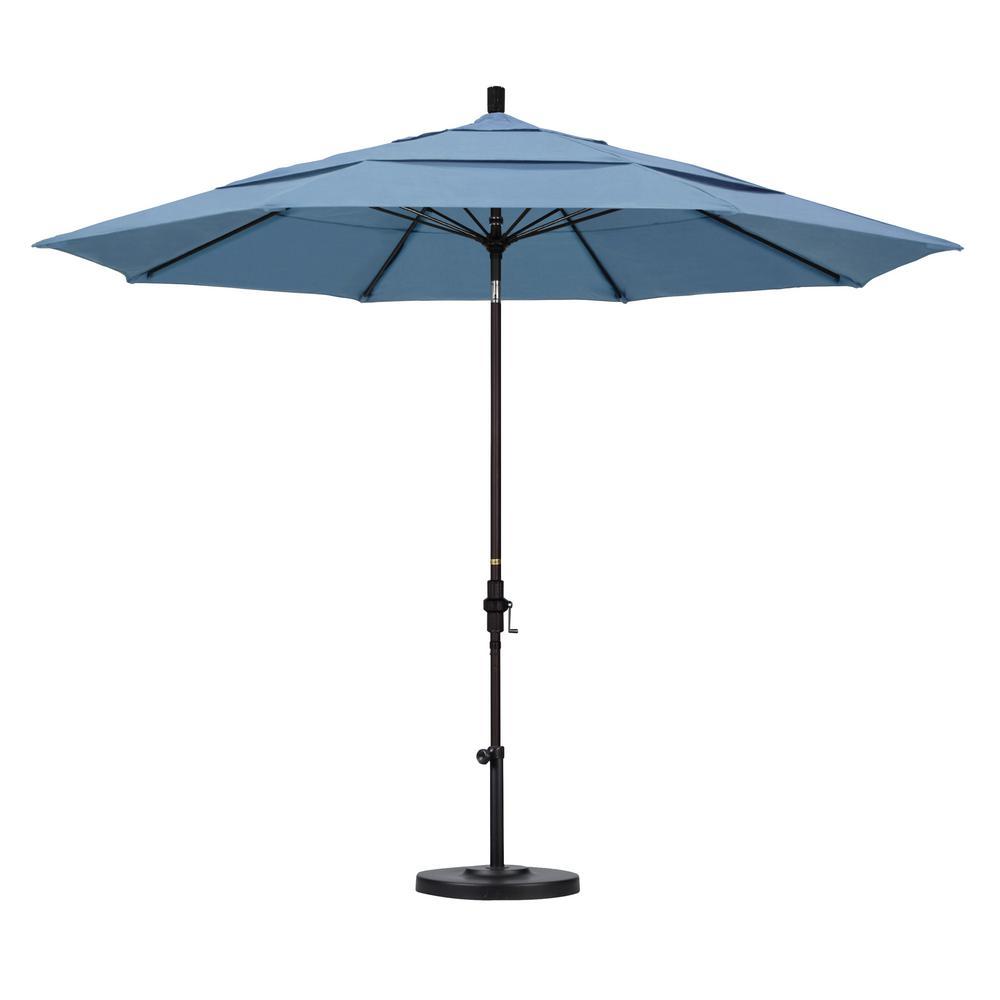 11 ft. Bronze Aluminum Market Patio Umbrella with Fiberglass Ribs Collar Tilt Crank Lift  in Air Blue Sunbrella