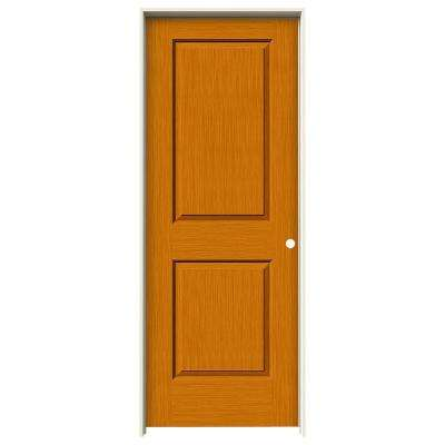 32 in. x 80 in. Cambridge Saffron Stain Left-Hand Solid Core Molded Composite MDF Single Prehung Interior Door