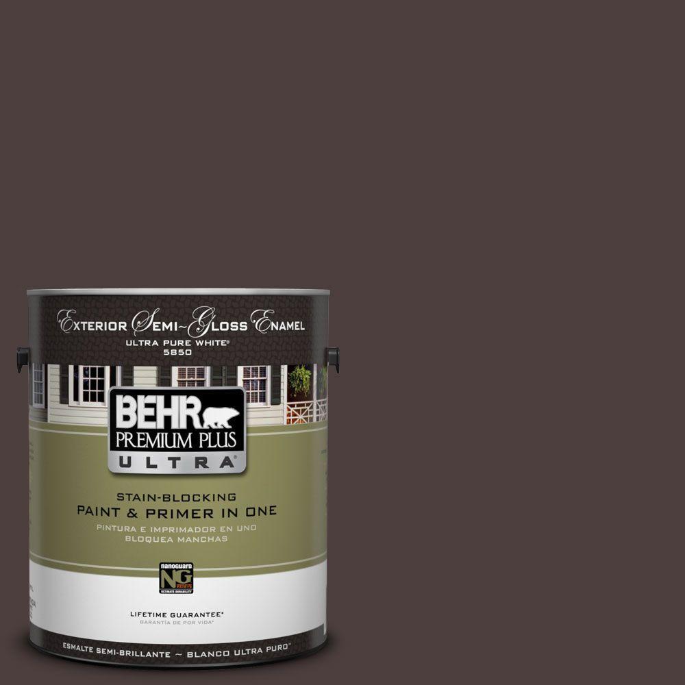 BEHR Premium Plus Ultra 1-Gal. #UL110-23 Polished Leather Semi-Gloss Enamel Exterior Paint