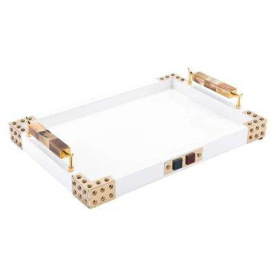 Rectangular White and Gold Tray with Horn and Agate Handle