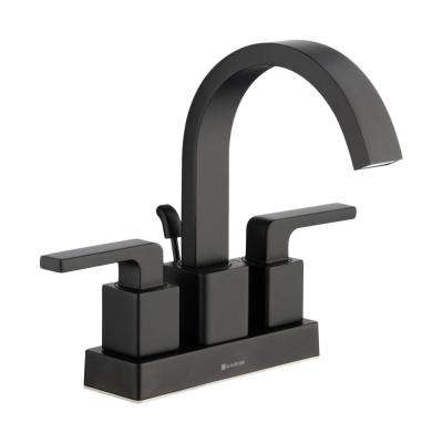 Farrington 4 in. Centerset 2-Handle Hi-Arc Bathroom Faucet in Matte Black