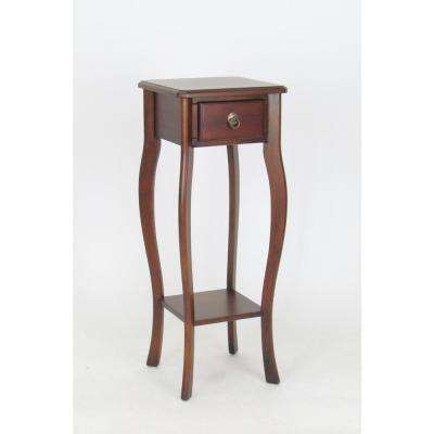 Brown Pedestal with Drawer