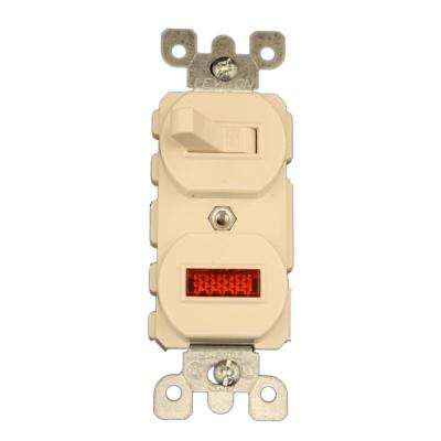 15 Amp Commercial Grade Combination Single Pole Toggle Switch and Neon Pilot Light, Light Almond