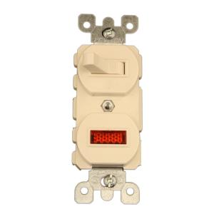 15 Amp Commercial Grade Combination Single Pole Toggle Switch And Neon Pilot Light Almond