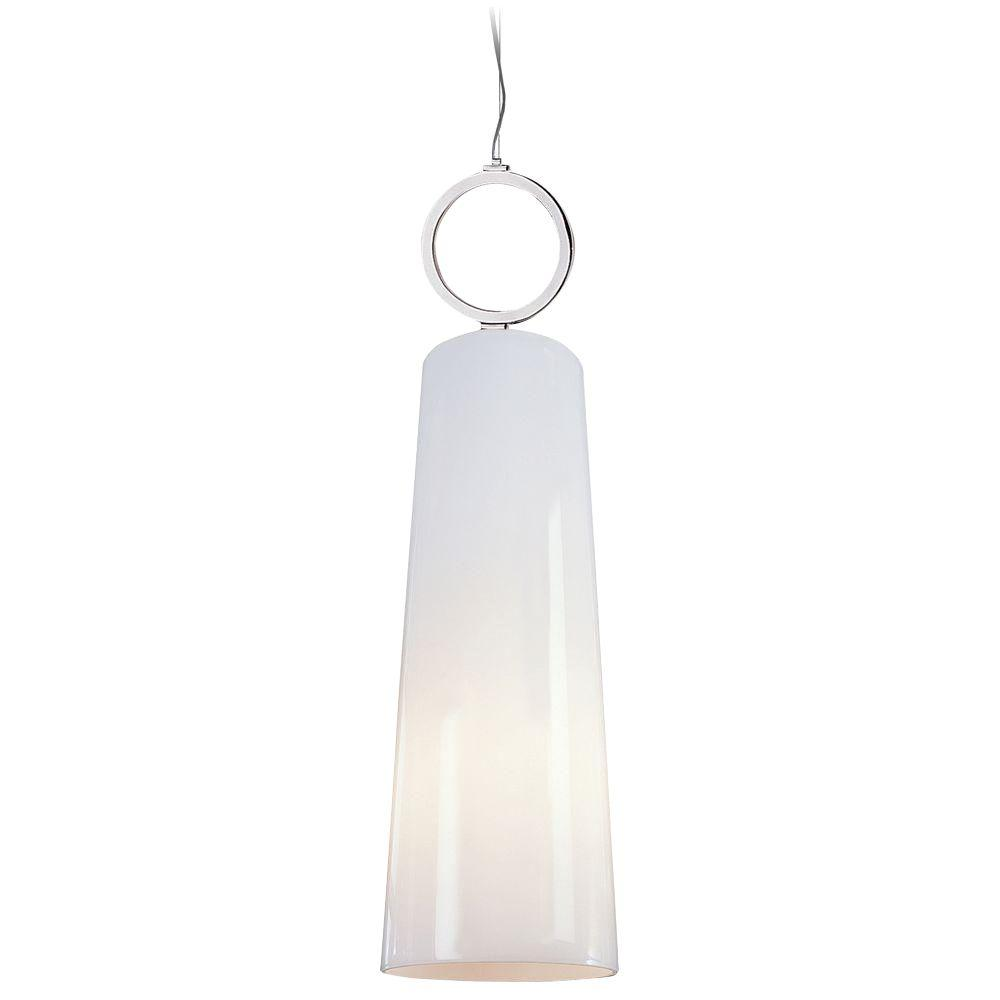 Trend Lighting Pirouette 1-Light Polished Chrome and White Glass Pendant