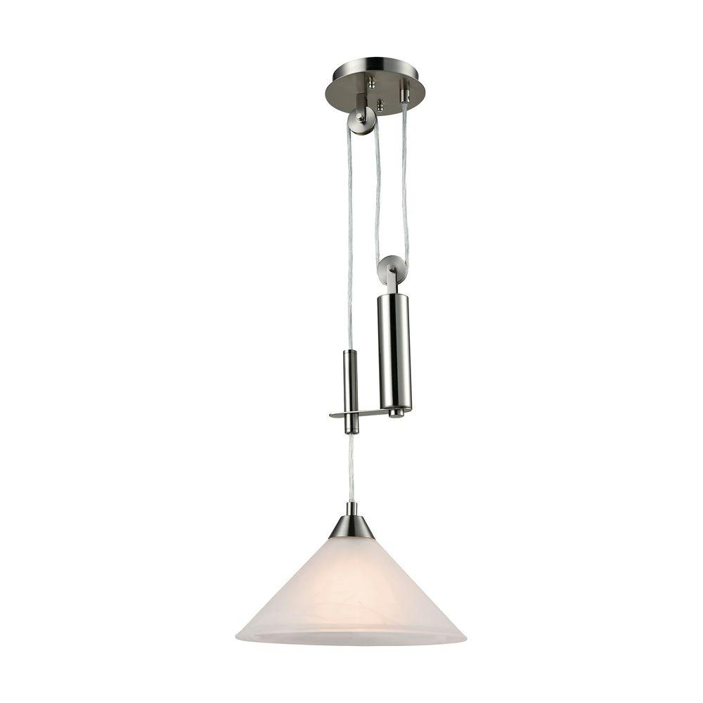 BELDI Peak Collection 1-Light Nickel Pendant With Brown