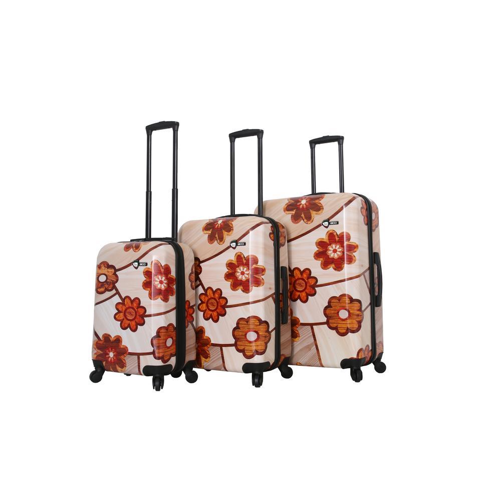 Mia Toro Ricci 3-Piece Collage Flowers Spinner Luggage Set M1355-03PC-MOFNN