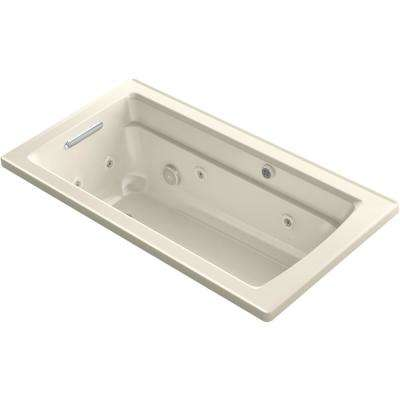 Archer 60 in. Rectangular Drop-in Whirlpool and Air Bath Bathtub in Almond