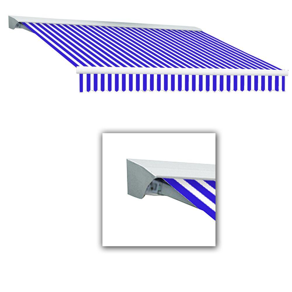 AWNTECH 16 ft. LX-Destin with Hood Right Motor with Remote Retractable Acrylic Awning (120 in. Projection) in Blue/White