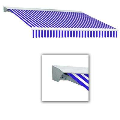 8 ft. Destin-LX Manual Retractable Acrylic Awning with Hood (84 in. Projection) in Blue/White