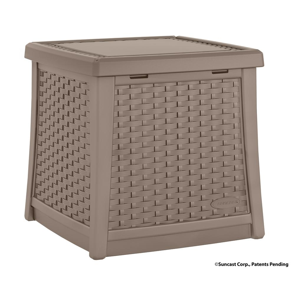 Suncast Elements Resin Outdoor Side Table With Storage
