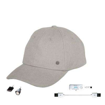 Cell Phone Charging Hat with Attachable LED Flashlight, Grey