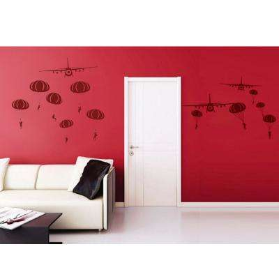 72 in. x 39 in. Dark Red Paratrooper and Air Planes Removable Wall Decal