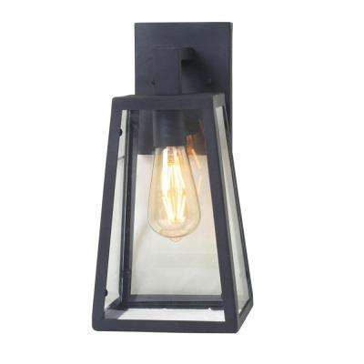 1-Light Sand Black Medium Outdoor Wall Mount Sconce with Clear Glass