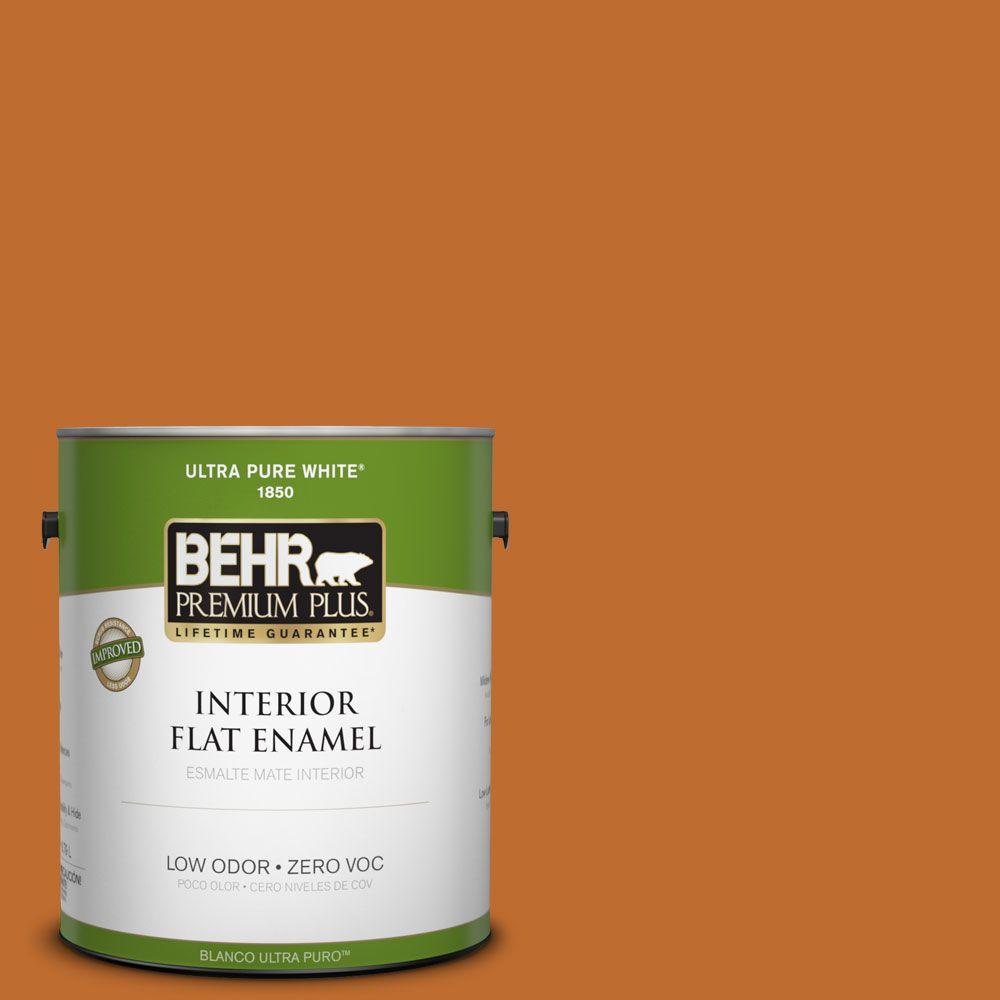 BEHR Premium Plus 1-gal. #S-H-260 Tiger Stripe Zero VOC Flat Enamel Interior Paint-DISCONTINUED