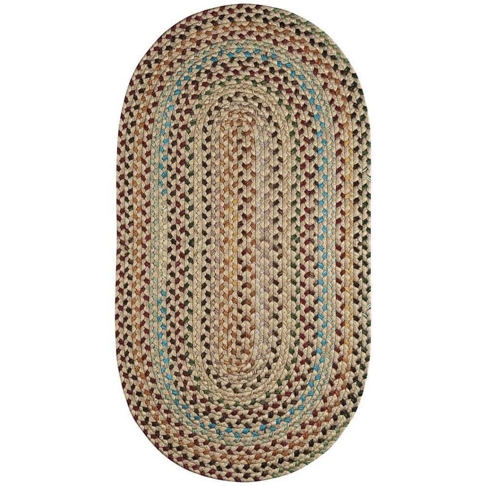 Capel jamerson tan 3 ft x 5 ft braided oval area rug for Accent rug vs area rug