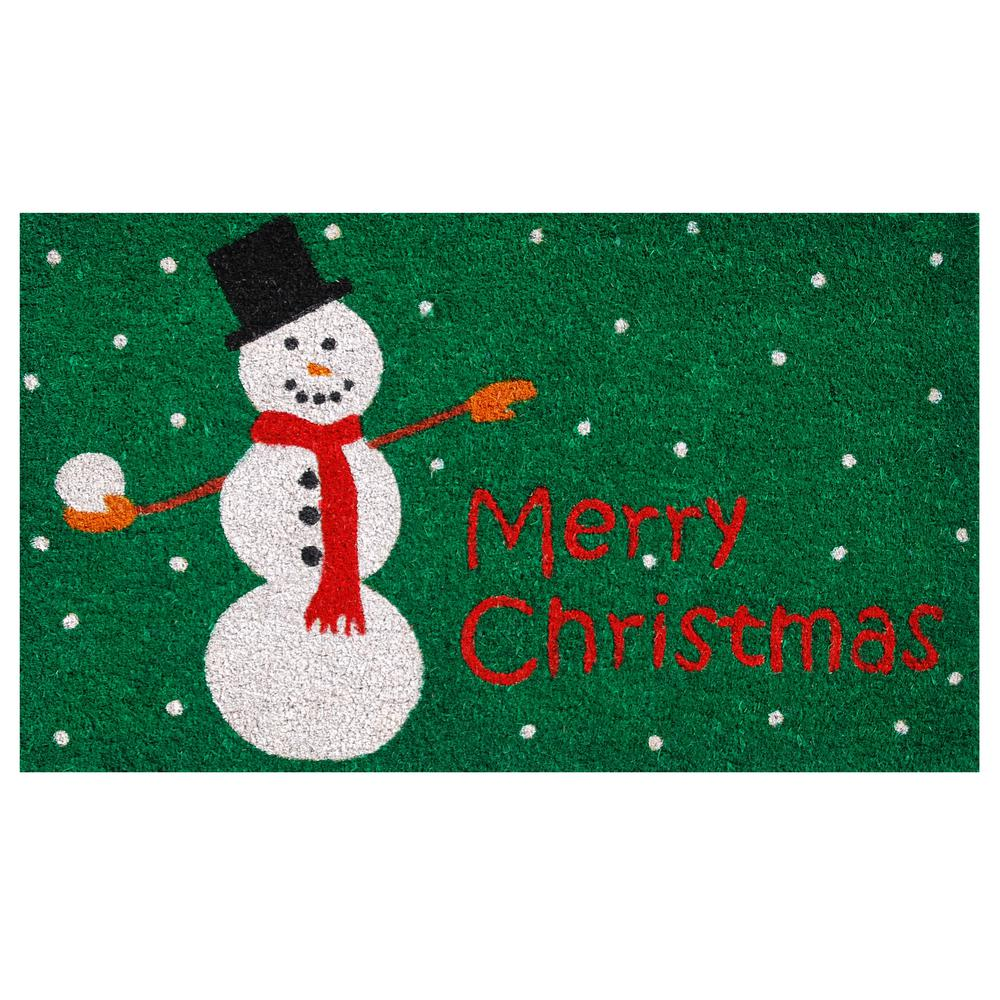 home more christmas snowman 17 in x 29 in coir door mat