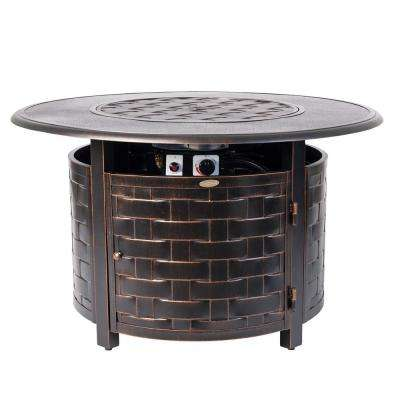 Armstrong 42 in. x 24 in. Round Aluminum Propane Fire Pit Table