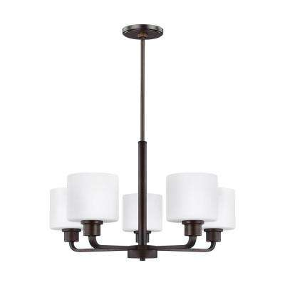 Canfield 5-Light Burnt Sienna Chandelier with LED Bulbs