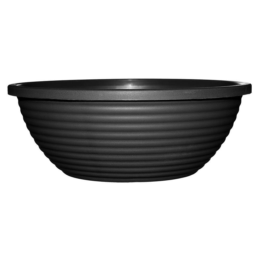 Dorado 17 in. Black Resin Bowl Planter