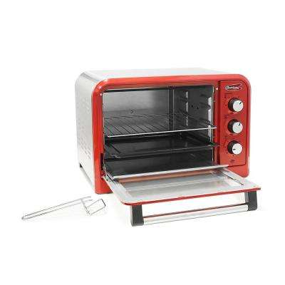 6 Slice of bread or 12 in. Pizza Retro Toaster Oven Red