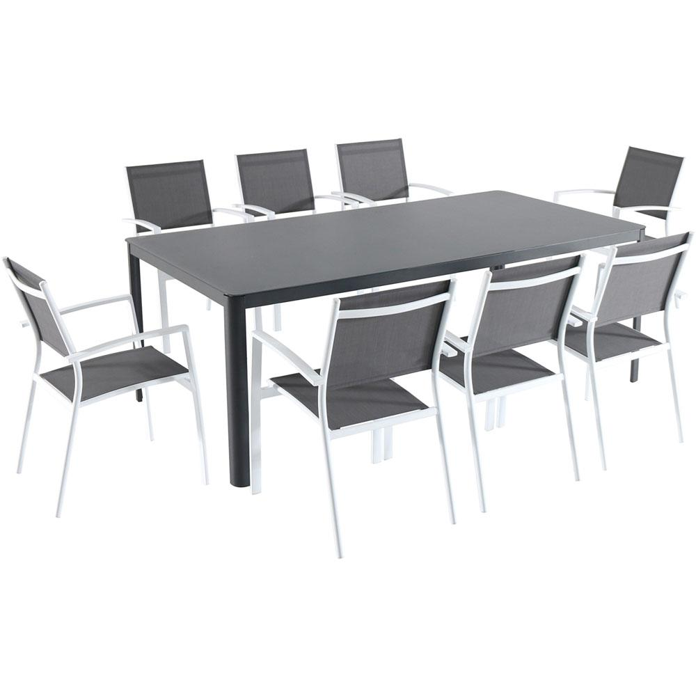 Hanover Fresno 9-Piece Aluminum Outdoor Dining Set with 8-Sling Arm Chairs  and a 42 in. x 83 in. Glass-Top Table