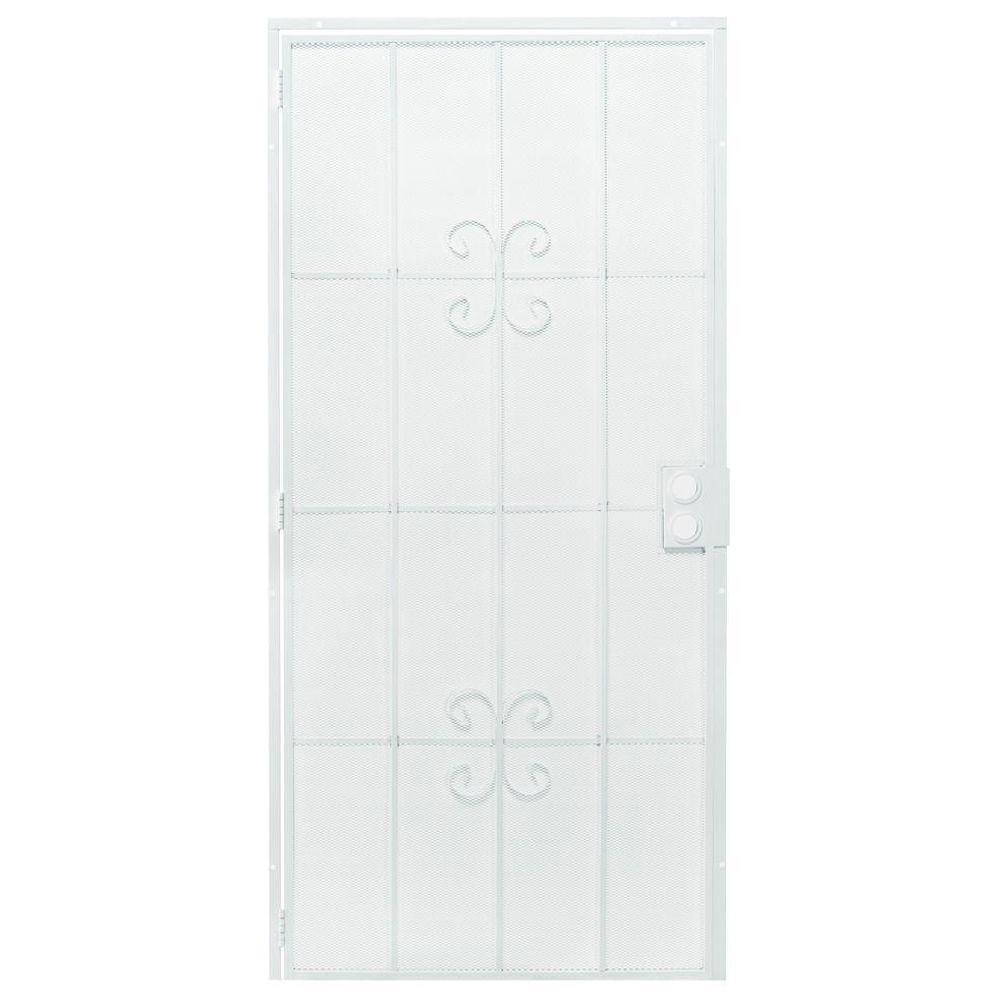 First Alert 36 in. x 80 in. Windham White Steel Prehung Security Door