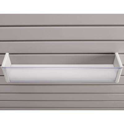 Plastic 4 in. x 20 in. Slat Wall Basket in White