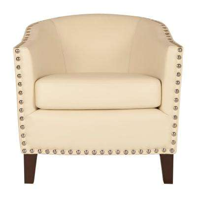 More Ivory Bonded Leather Club Arm Chair
