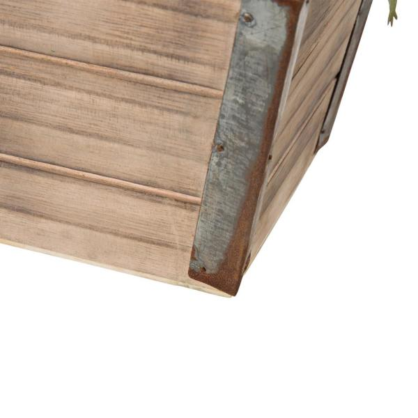 Glitzhome - 7.5 in. H Succulent Plants in Wooden Box