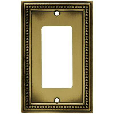 Beaded Decorative Single Rocker Switch Plate, Tumbled Antique Brass