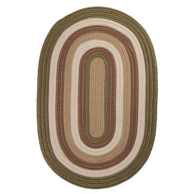 Frontier 6 ft. x 6 ft. Green Round Braided Area Rug