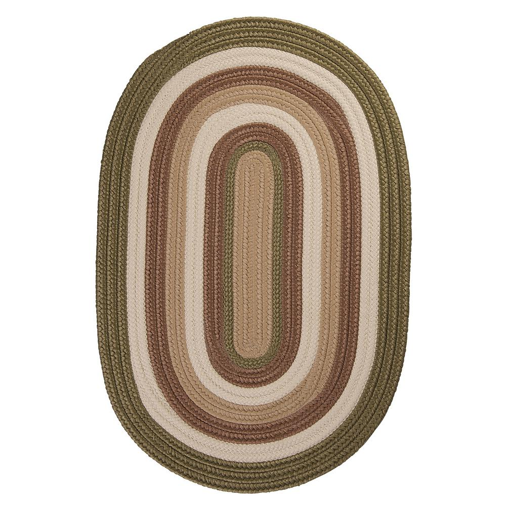 Frontier 7 ft. x 9 ft. Green Braided Area Rug