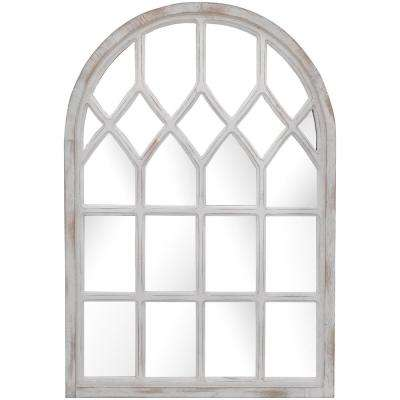 26 in. H x 36 in. W Home Decorators Collection Arched Windowpane Framed Antiqued White Accent Mirror