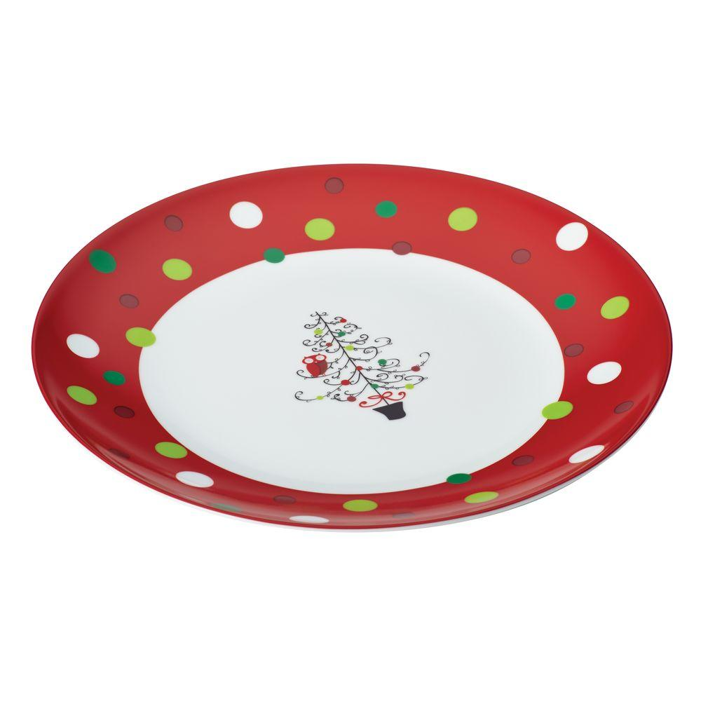 Rachael Ray Dinnerware Hoot's Decorated Tree 12 in. Round Porcelain Platter