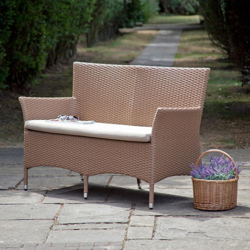 SunTime Outdoor Living Ashton Rattan 52.7 in. 2-Person Brown Metal Outdoor Bench