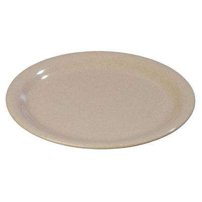 9 in. Diameter Melamine Narrow Rim Dinner Plate in Sand (Case of 24)